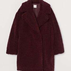 H&M Faux Shearling Teddy Coat Dark Red -Small